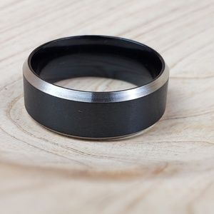 Other - Black and Silver 8mm Wide Ring